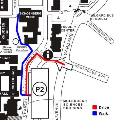Map for Schoenberg Hall and parking
