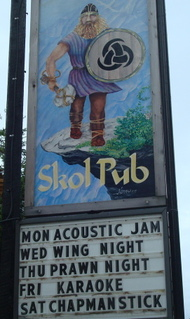 Skol Pub sign, on Gabriola Island