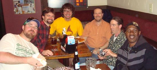 Stick friends at the Skol Pub