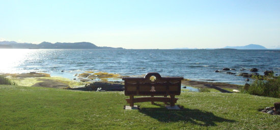 Bench overlooking the ocean at The Haven