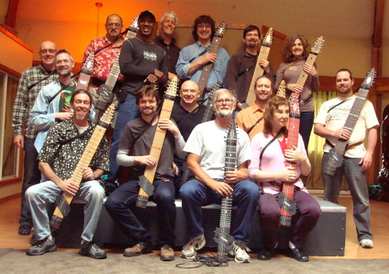 The Stick Retreat participants, with their instruments